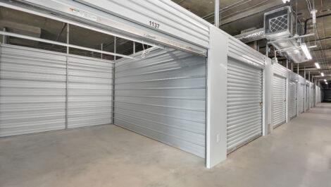 row of indoor storage units.