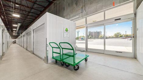 entrance to row of interior storage units.
