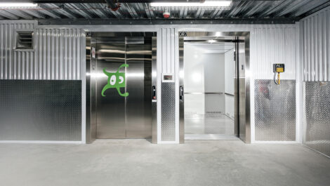 elevators inside Space Shop facility.