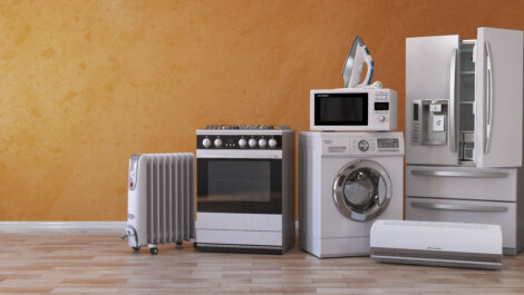 a set of household kitchen appliances that need to be stored