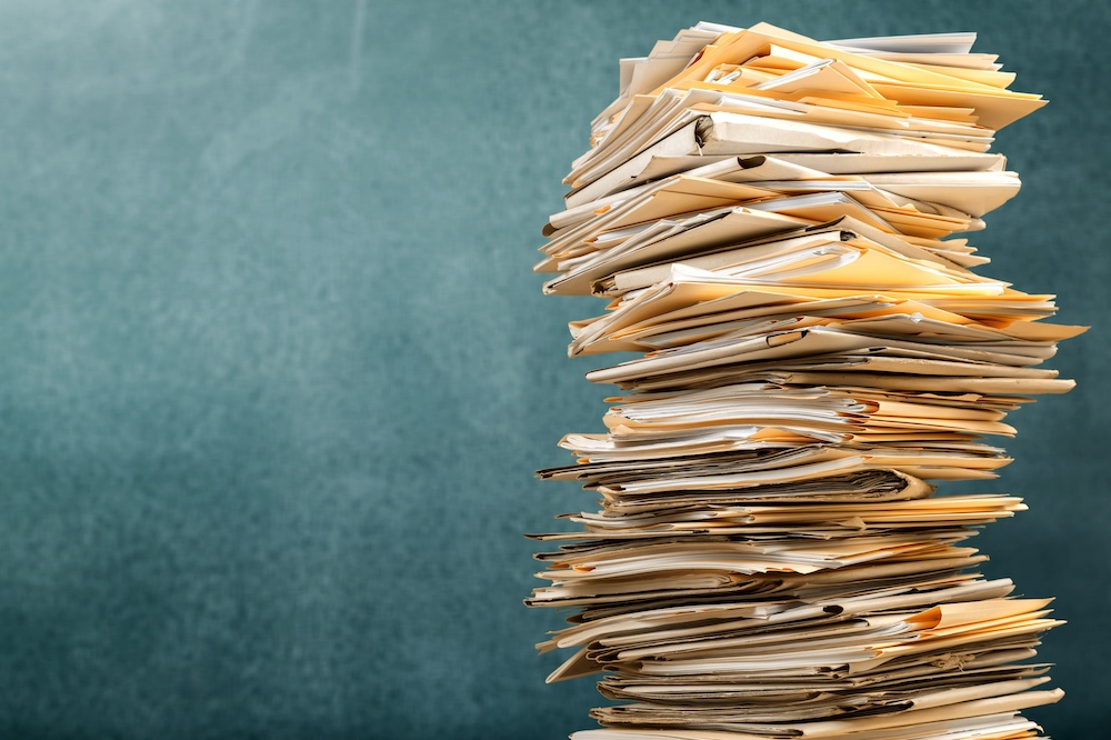 Tips for Storing Documents, a pile of documents